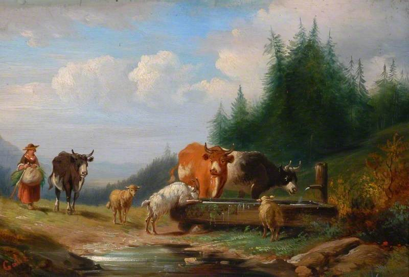 Cows, Sheep and a Goat at a Drinking Trough