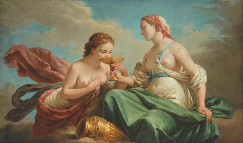 Two Nymphs, Allegory of the Five Senses (dessus de porte)
