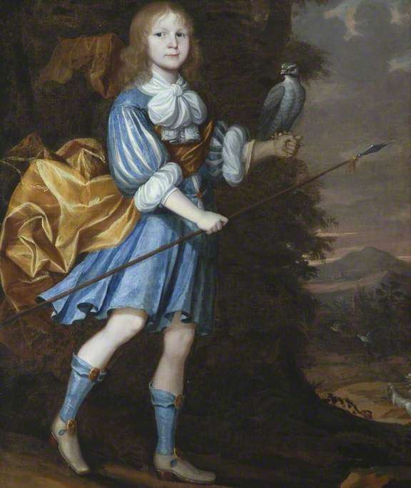 A Youth in Blue and White Dress with a Hawk and a Hunting Spear