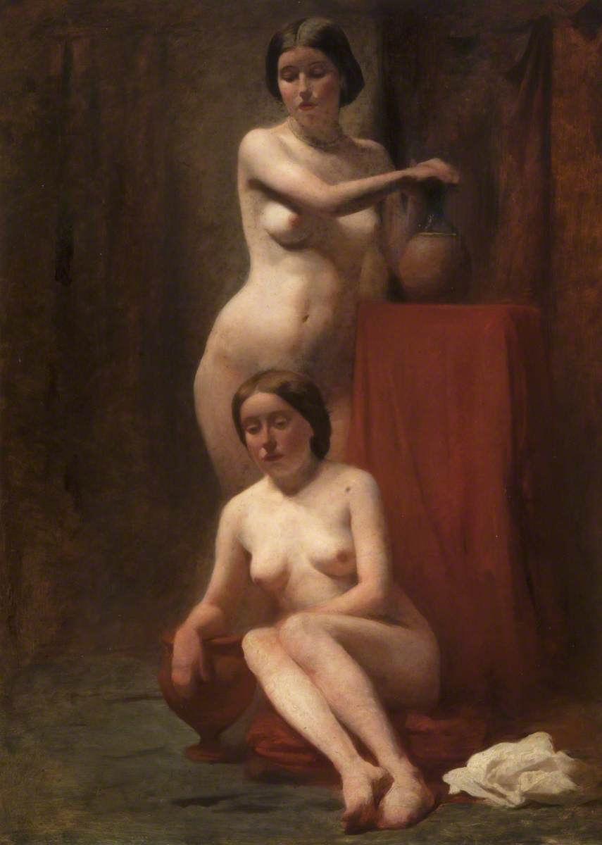 Two Female Nudes: One Standing, One Seated