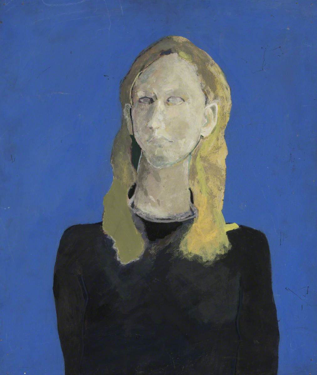 Woman in a Blue Background