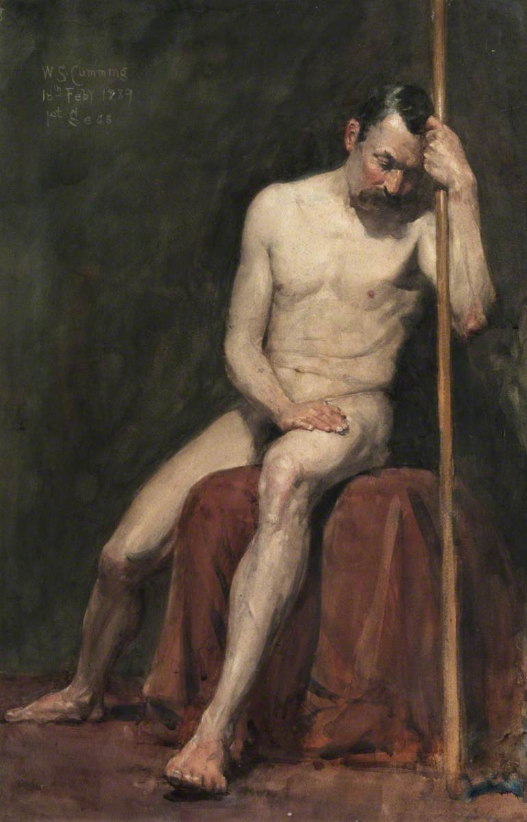 Seated Male Nude with Staff