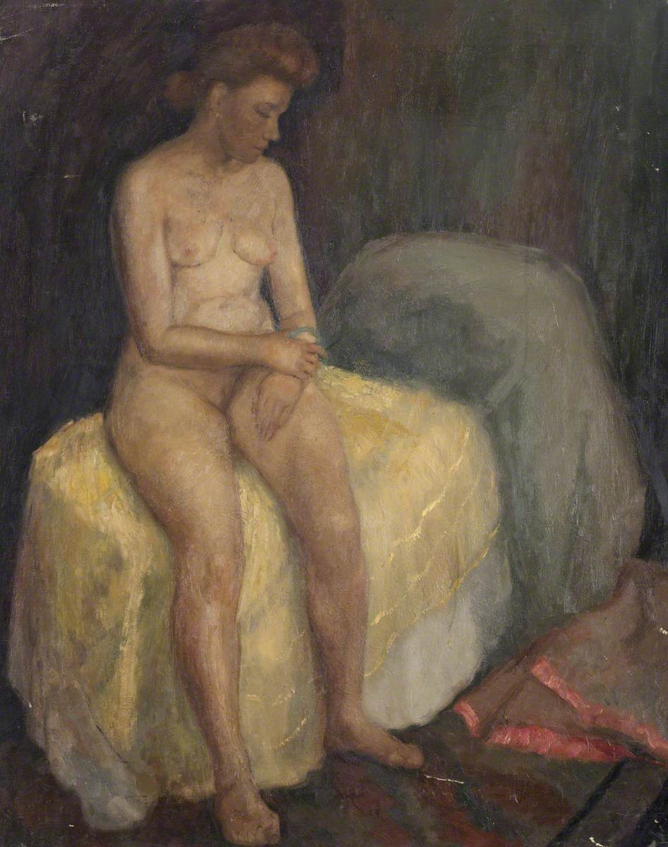 Seated Female Nude on Yellow Spread