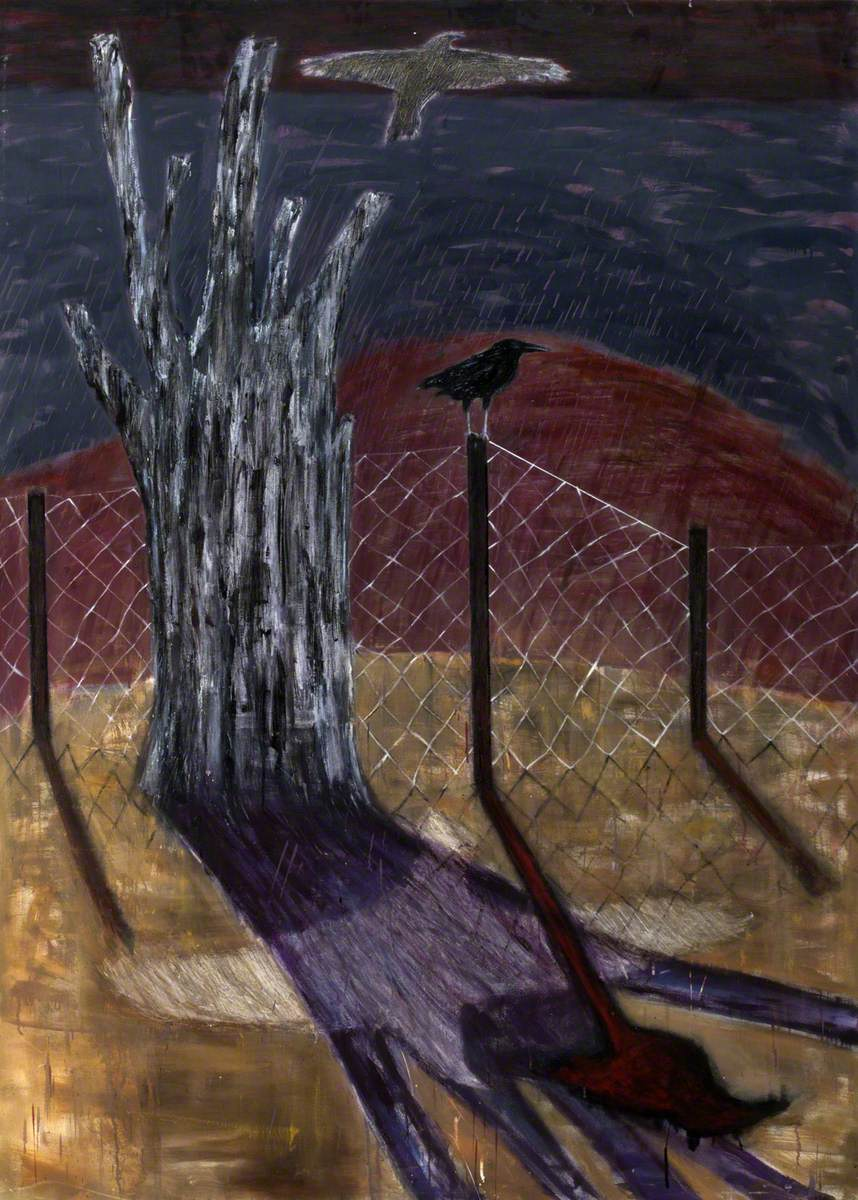 Landscape with Tree Stump, Fence and Birds