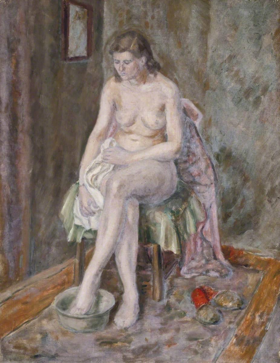 Seated Female Nude at Washbasin