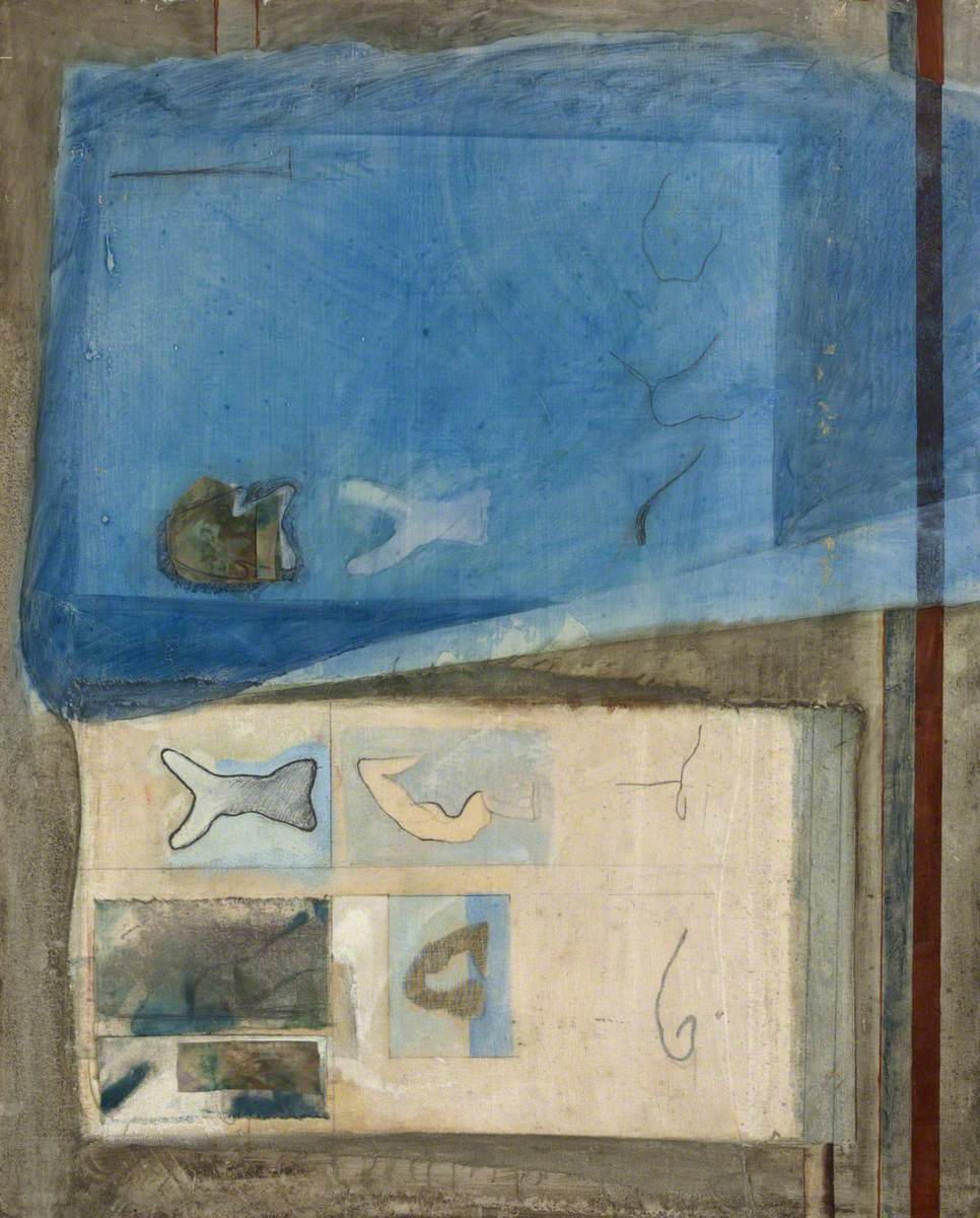 Abstract Composition with Fabric Collage