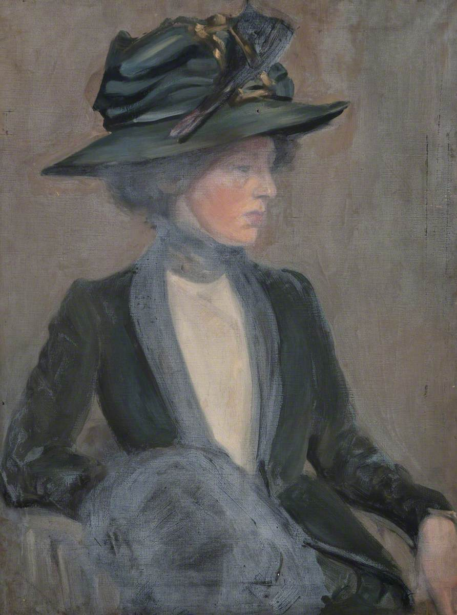 Seated Woman in a Green Hat