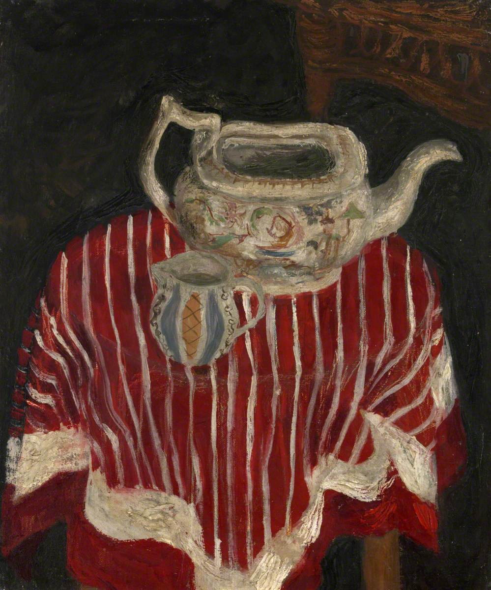 Still Life with Striped Cloth, Teapot and Jug