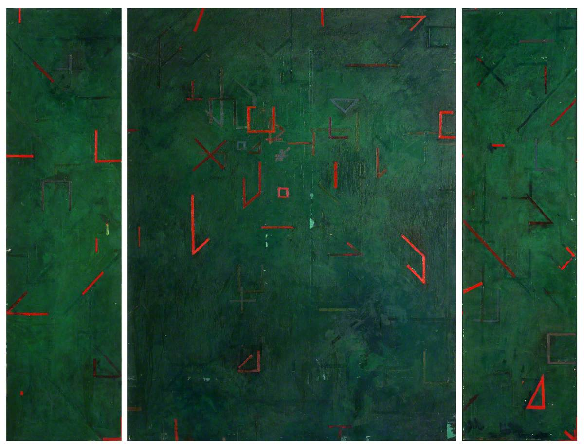 Abstract Green with Orange Geometric Shapes
