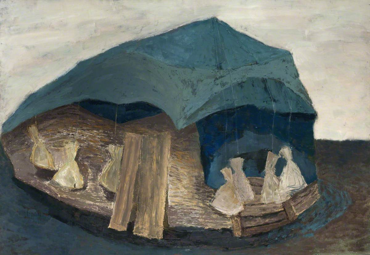 Blue Tent with Sacks