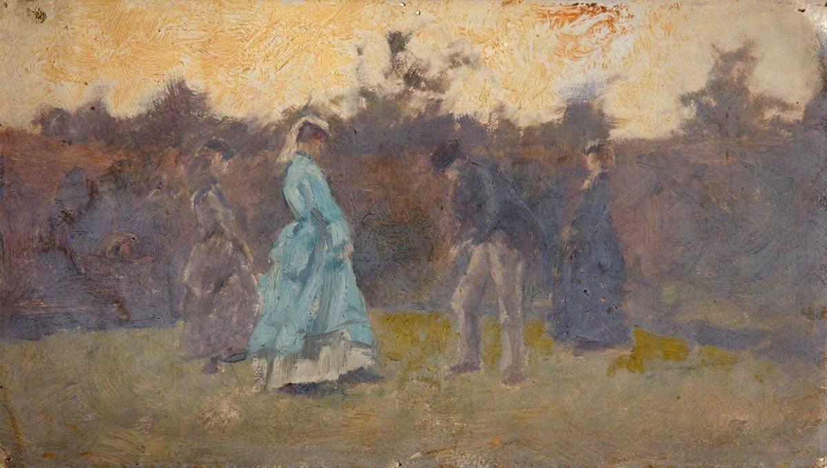 Figures Promenading in a Garden