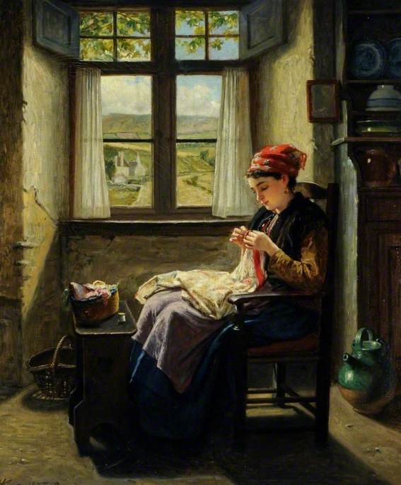 Industry (Girl at Window, Sewing)