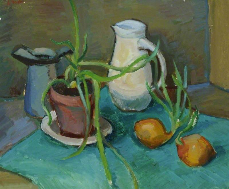 Still Life, White Jug and Onions