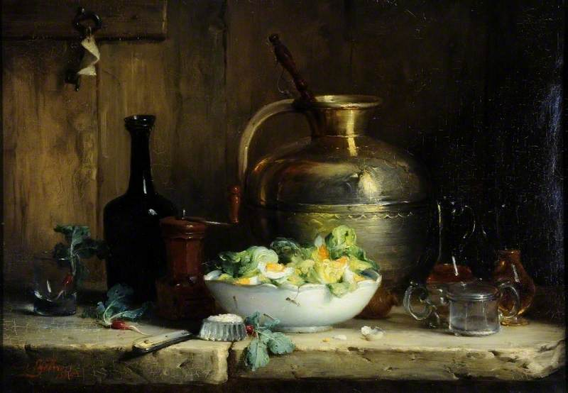 Still Life with a Pitcher, Glasses and a Bowl of Salad