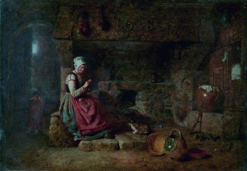 Interior, Lady Knitting