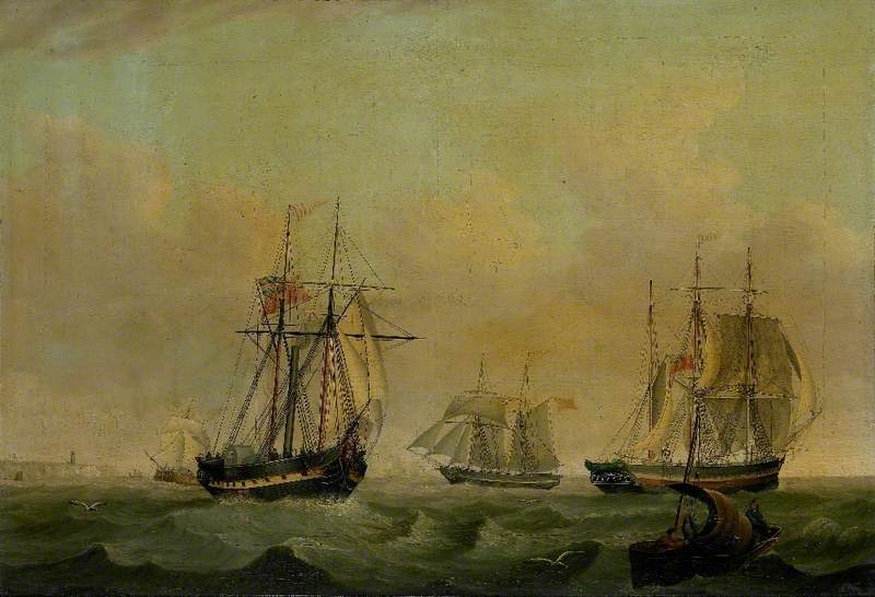 PS 'Rob Roy', Brig, Barque and Fishing Smack Sailing off Flamborough Head, East Riding of Yorkshire