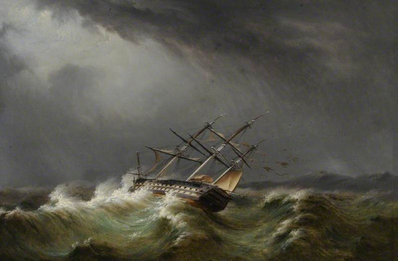 74-Gun Ship in a Storm