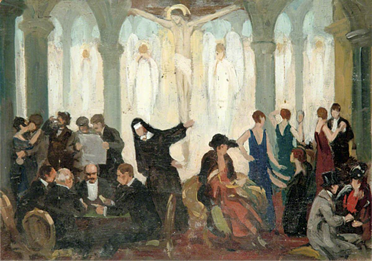 Party Scene inside a Church with Party Guests, Angels and a Nun