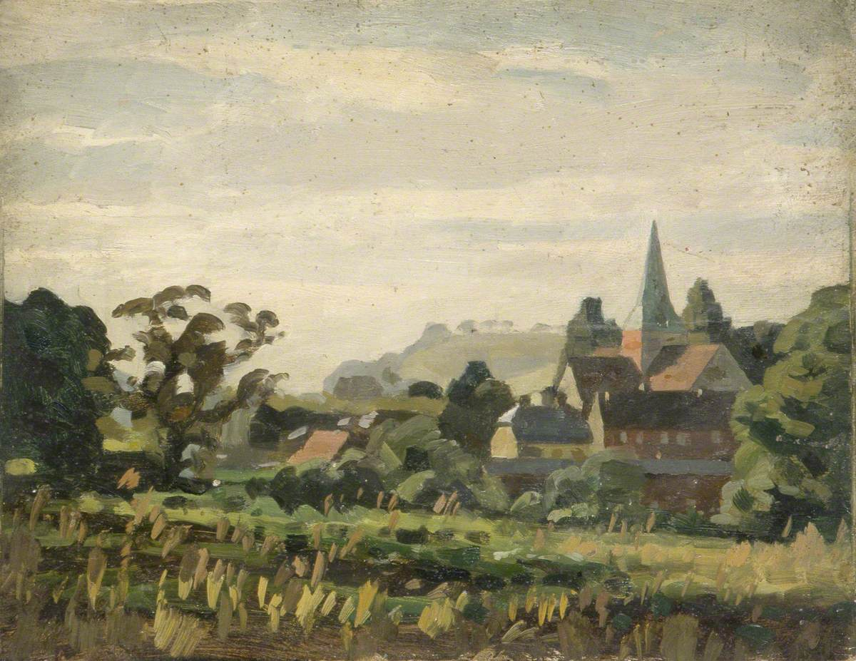 Rural Scene with a Village and a Church Spire