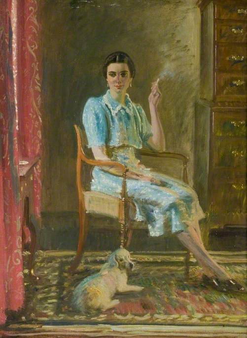 Miss Hancock, Seated Smoking with a Dog in an Interior