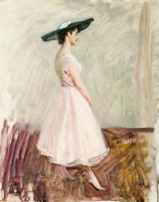 Study of One of Selfridge's Young Ladies, in a Pink Selfridge's Dress, for 'Does the Subject Matter?'