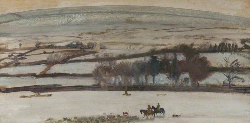 A Winter Landscape, Exmoor, Figures on Horseback in the Foreground