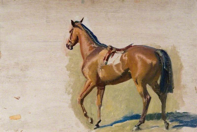 Study of a Chestnut Racehorse from the Back