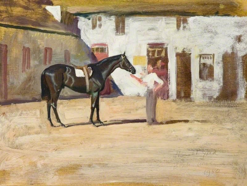 A Black Horse at Newmarket