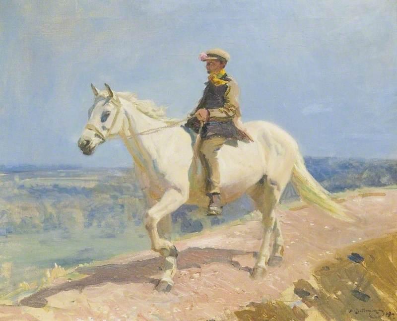 'Shrimp' on a White Welsh Pony