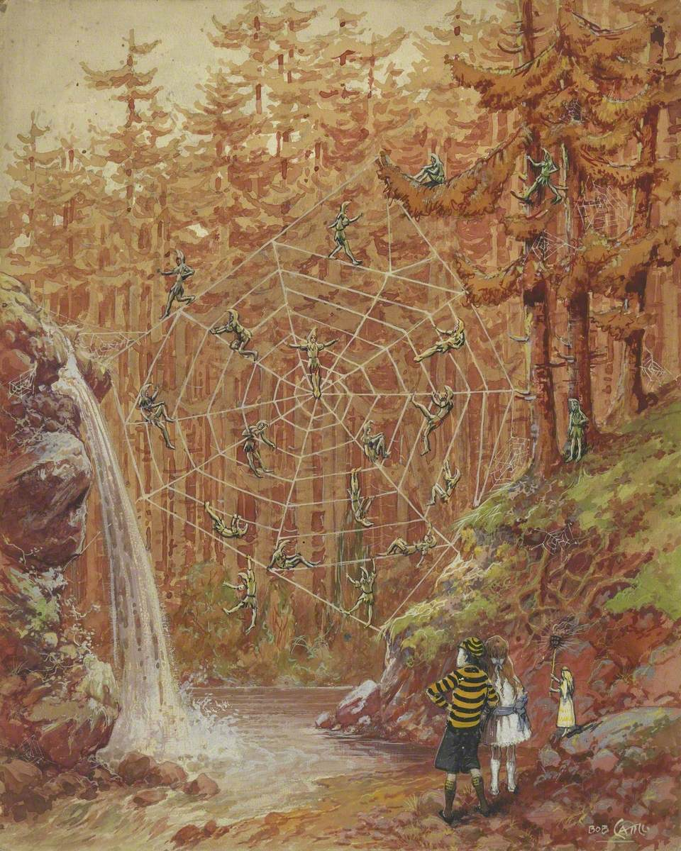 Two Children and Elves in Spider's Web