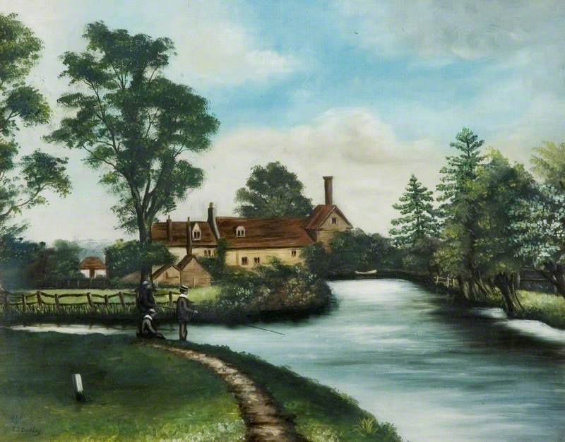River Scene with View of a Mill