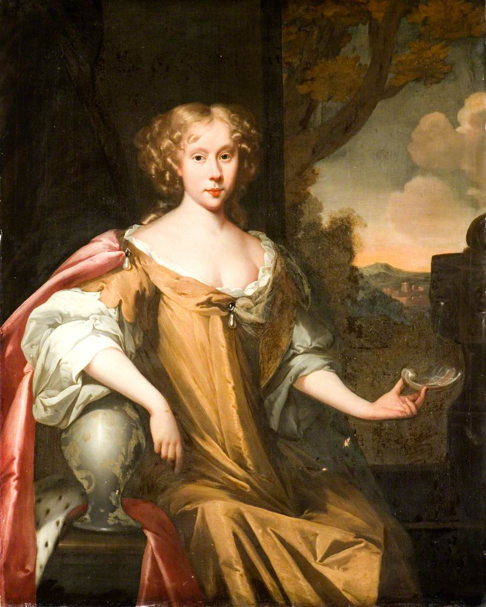 Portrait of a Young Lady in a Brown Dress and Pink Cloak
