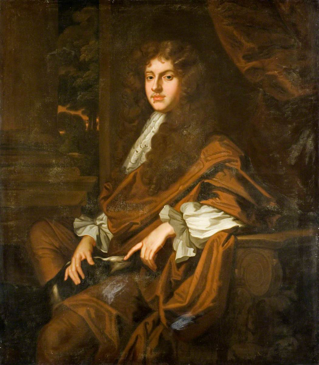 Portrait of a Gentleman in a Long Wig and a Brown Cloak, with a Dog