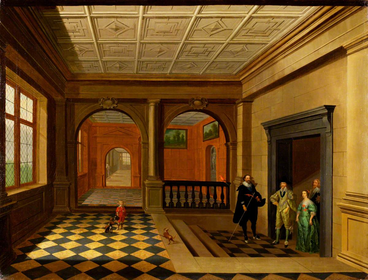 An Interior with King Charles I, Queen Henrietta Maria, Jeffery Hudson, William Herbert, 3rd Earl of Pembroke and His Brother Philip Herbert