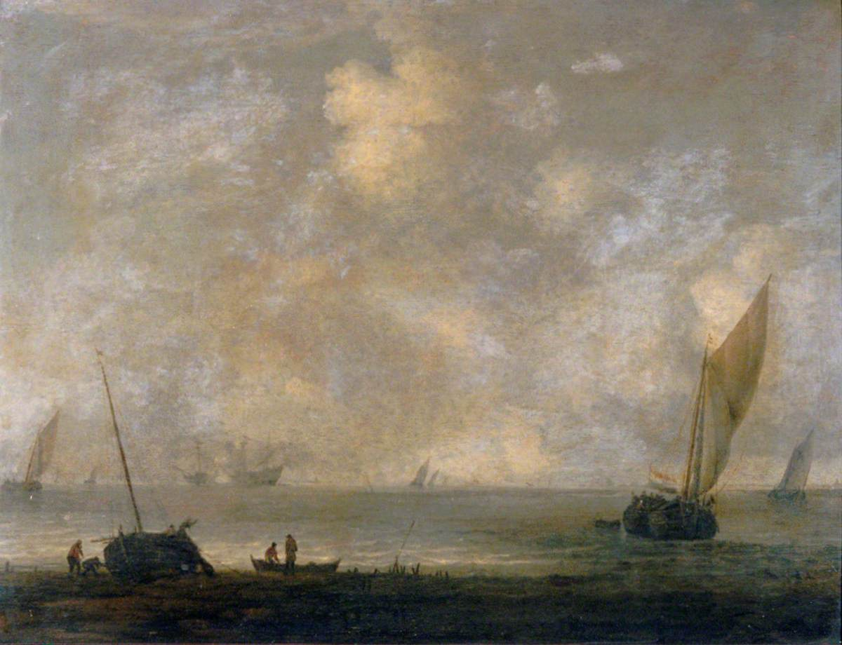 Fishermen on a Shore with Shipping