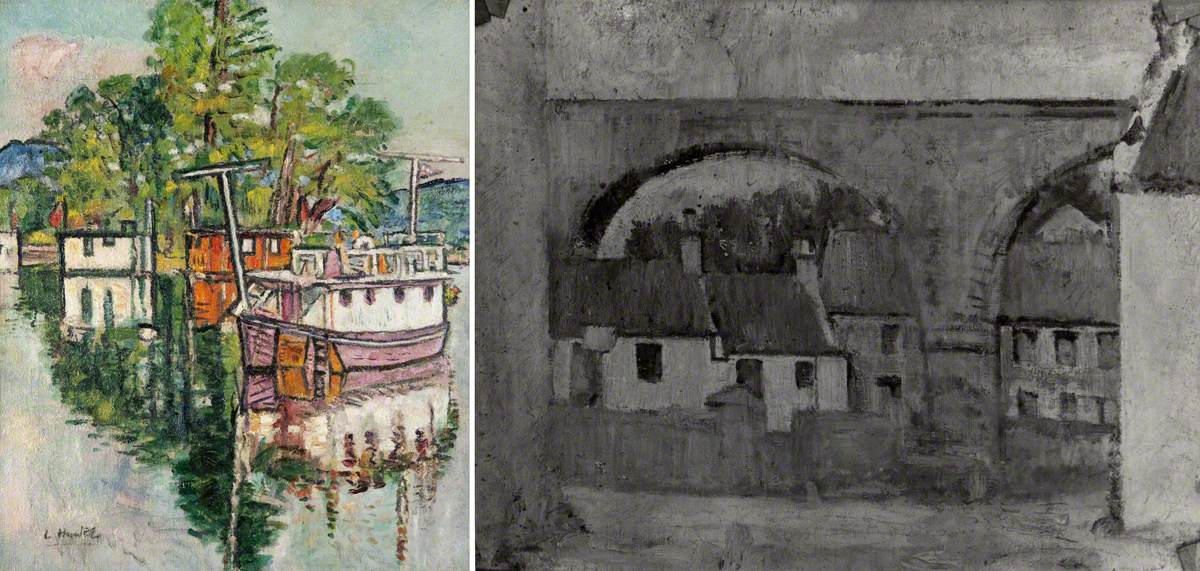 House Boats at Balloch (recto), Cottages under a Railway Bridge (verso)