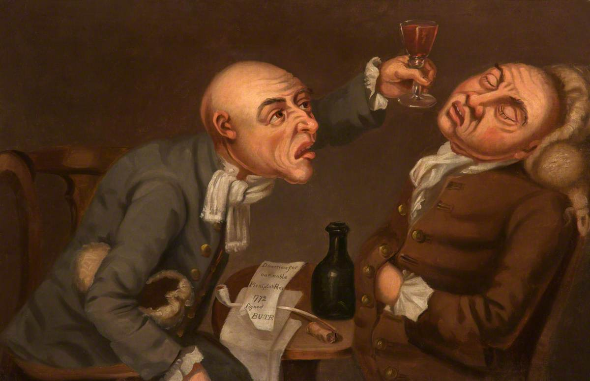 Human Passions (Two Drunkards, a Glass, a Bottle and a Pipe)