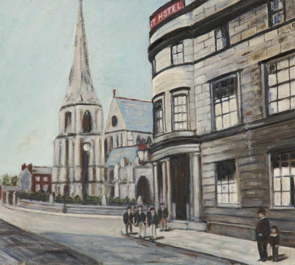 'Derby Hotel' and Bury Parish Church