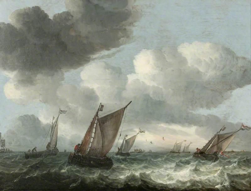 Fishing Boats off the Coast in a Choppy Sea