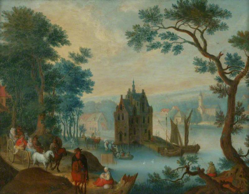 Landscape with Figures on a Path in the Foreground and a Castle on a River