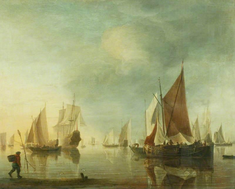 Shipping at Anchor off the Shore in a Calm Sea