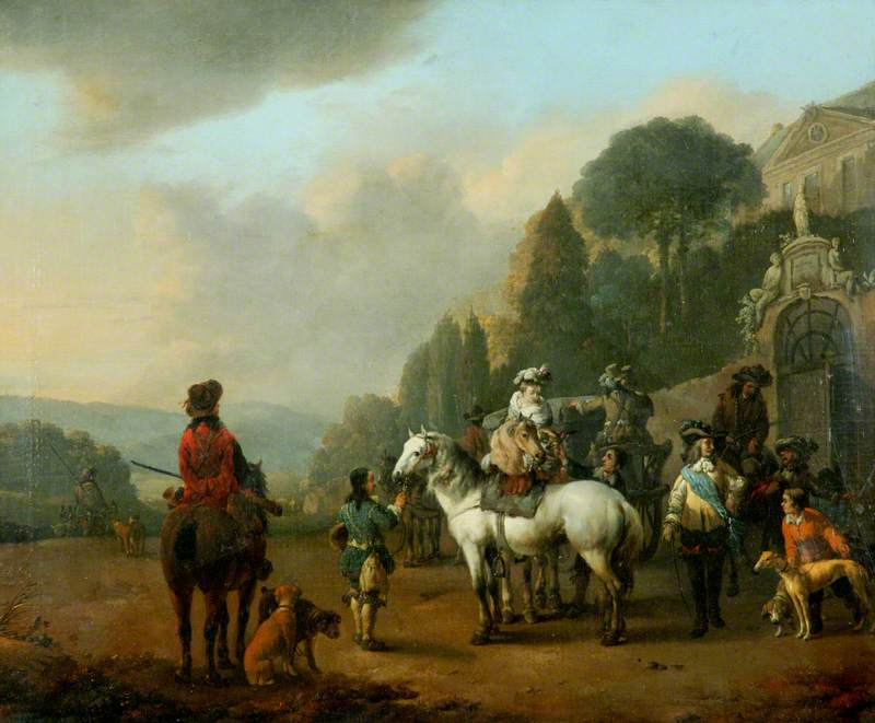 A Party of Falconers outside the Gates of a Château