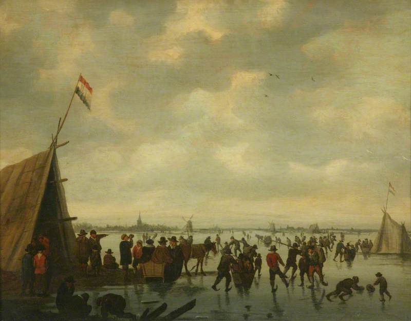 Skating Scene with a Tent and Numerous Figures on a Wide River