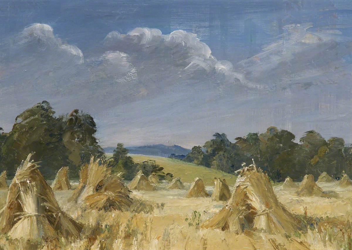 Stooks in a Cornfield
