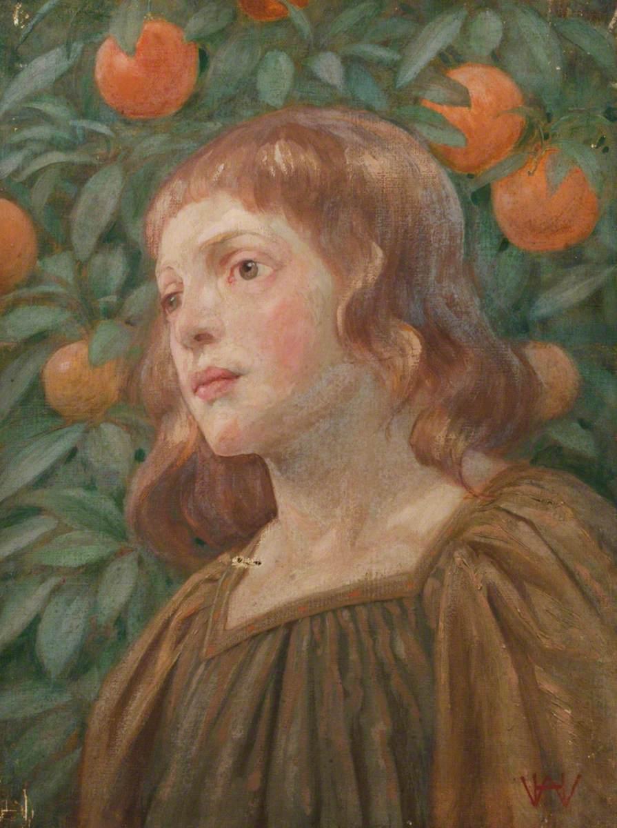 Portrait of a Girl against an Orange Tree