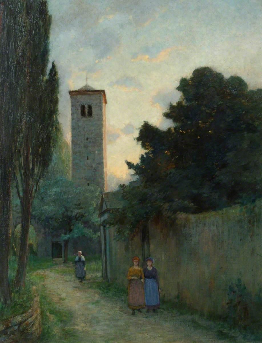 Women Walking along a Walled Lane