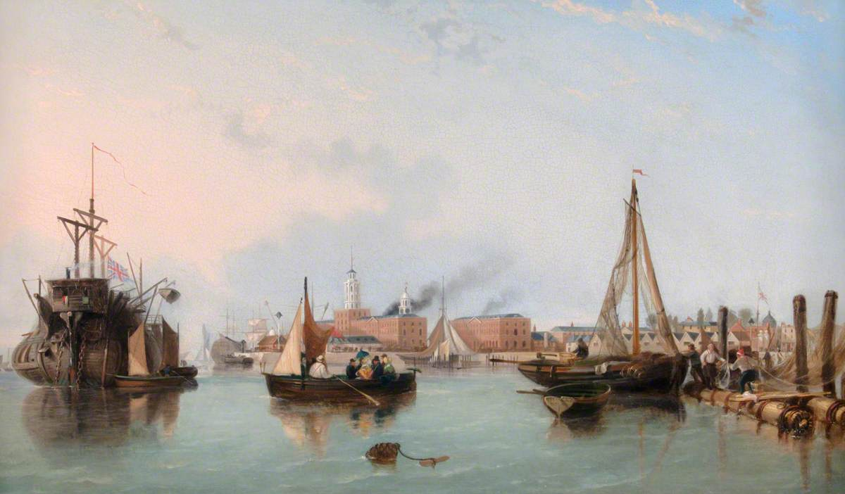 Entrance to Portsmouth Harbour with British Man of War