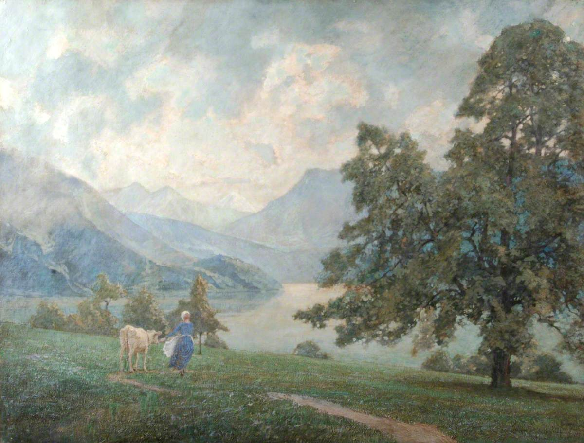 Milkmaid and Cow in Landscape
