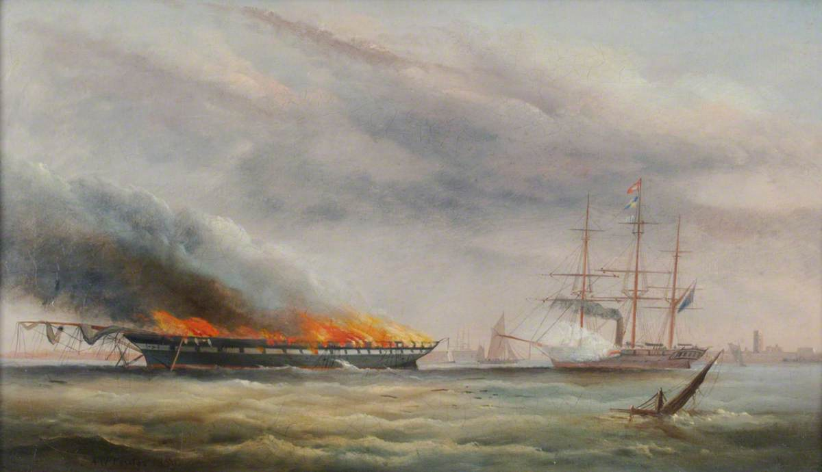 The Frigate HMS 'Falcon' Attempting to Sink by Shelling the Burning Hulk of the Troop Transport, 'Eastern Monarch'