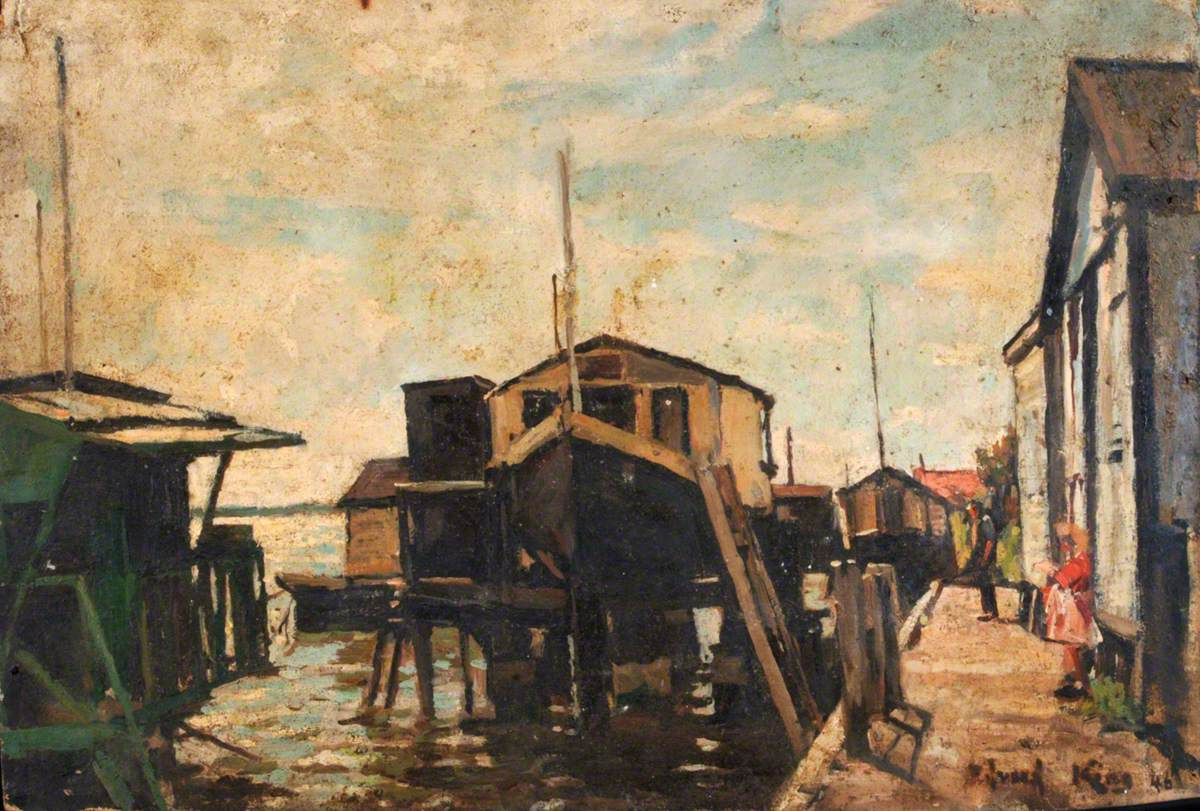 Houseboats at Milton alongside a Quay, with a Girl in Red